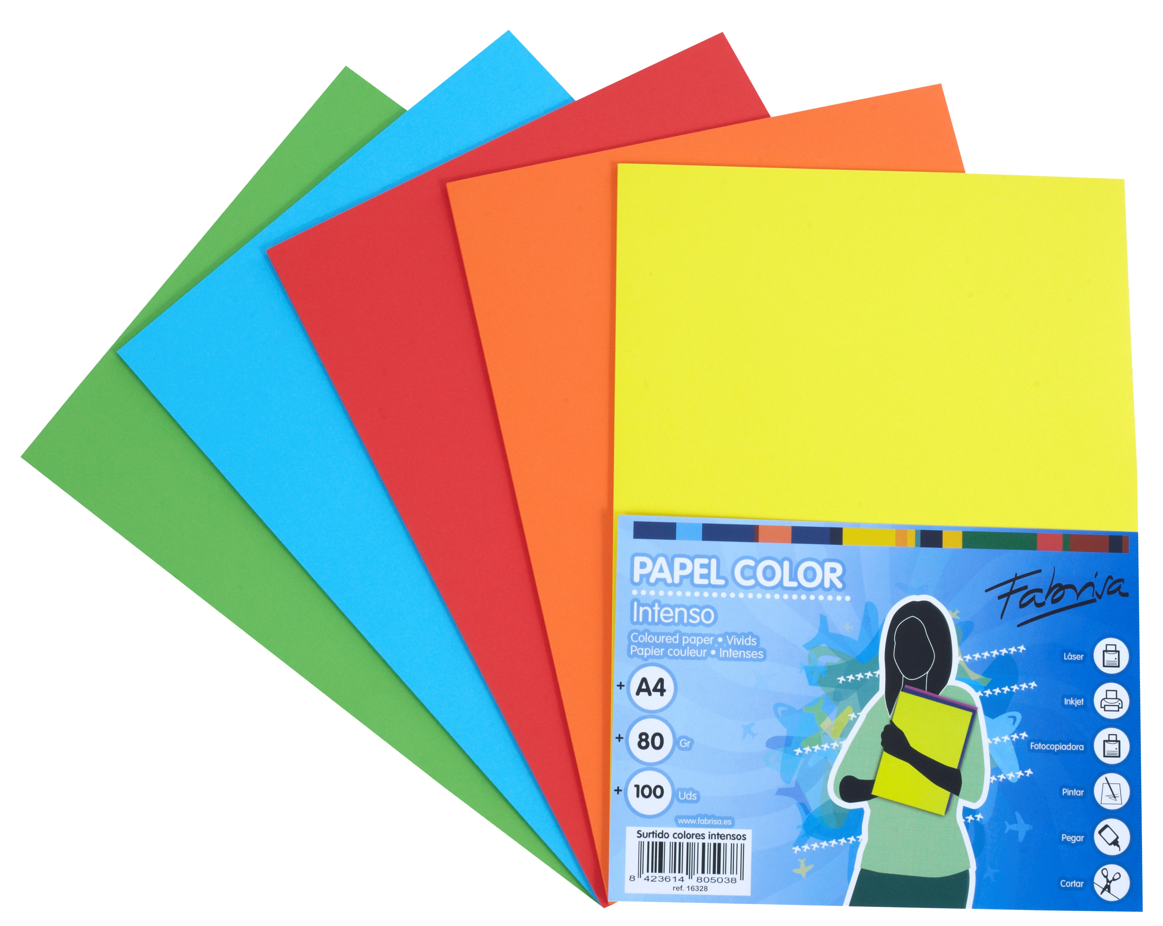 Papel color FABRISA  A4 80g Surtido intensos Pack 100h