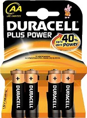 Pila alcalina DURACELL Plus Power  LR06 AA blister 4