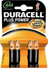 Pila alcalina DURACELL Plus Power  LR03 AAA blister 4