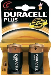 Pila alcalina DURACELL Plus Power LR14 Tipo C blister 2