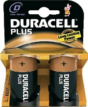 Pila alcalina DURACELL Plus Power LR20 Tipo D blister 2