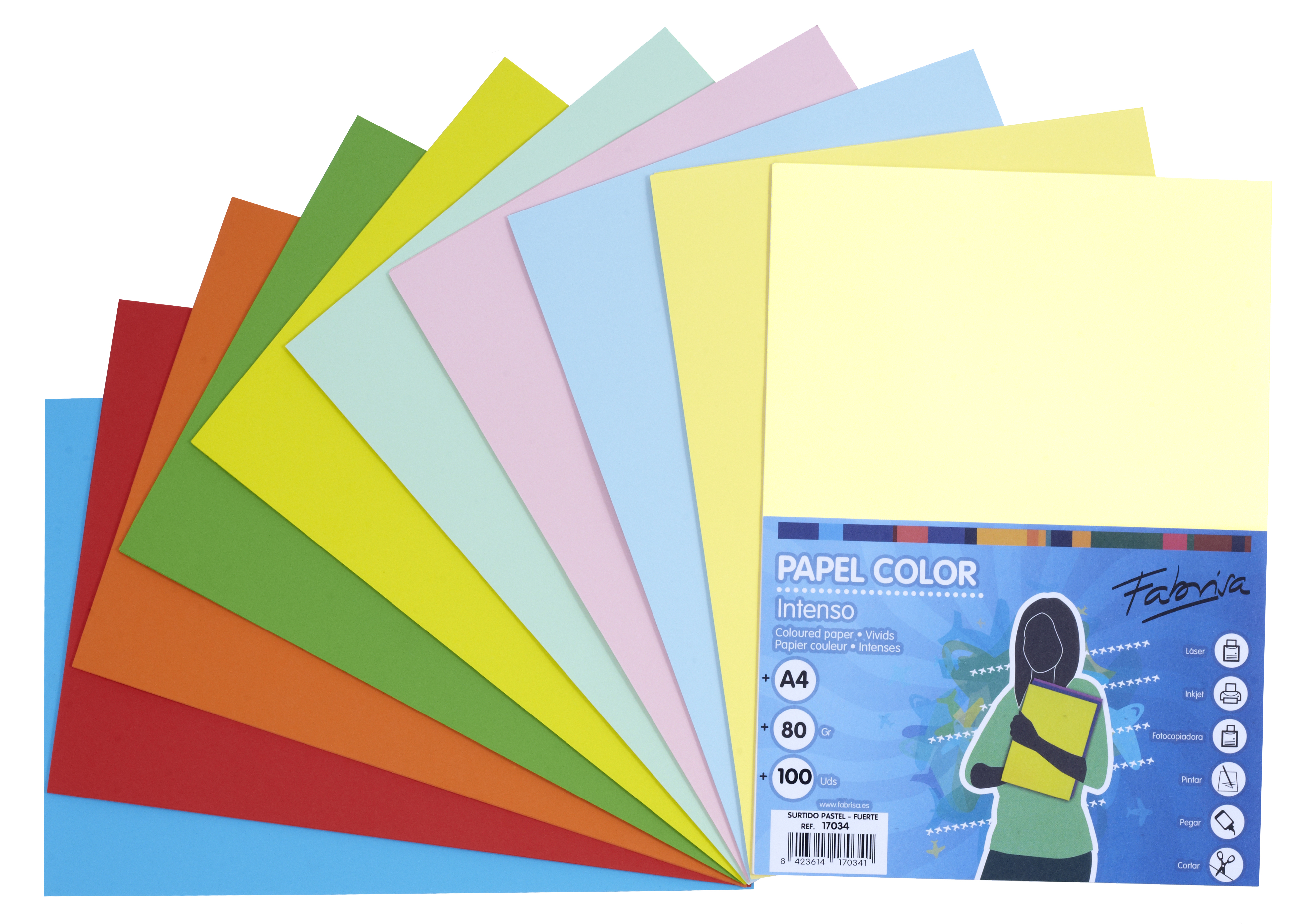 Papel color FABRISA  A4 80g Pastel/Intensos Pack 100h
